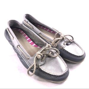 Sperry Audrey Leather Boat Shoes 8.5 Grey Silver